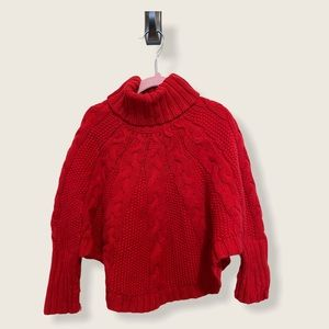 Girls Like New Red Turtleneck poncho sweater